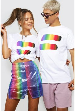 Mens White Pride Loose Fit T-Shirt With Rainbow Equals Symbol