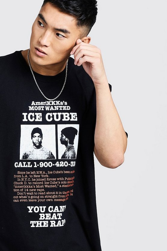 Mens Black Ice Cube Wanted Oversized T-Shirt