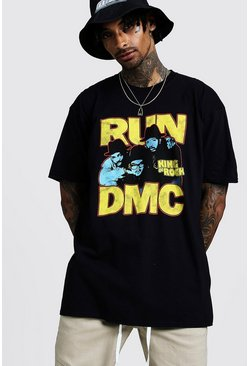 T-shirt oversize di Run DMC, Nero, Maschio