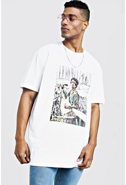 Mens White Jimi Hendrix Oversized T-Shirt