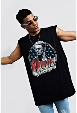 Mens Black Bowie Oversized Sleeveless T-Shirt