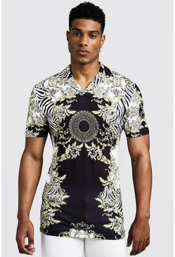 Mens White Muscle Fit Short Sleeve Baroque & Zebra Print Collar Polo
