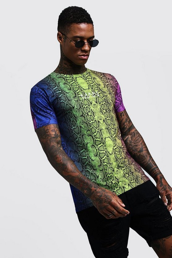 Mens Multi Original MAN Coloured Snake Print T-Shirt