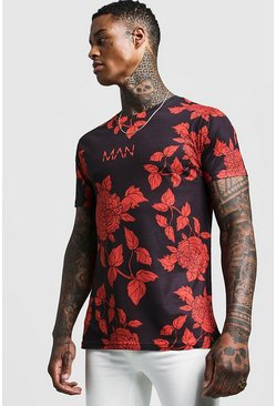 Mens Black Original MAN Rose Print T-Shirt