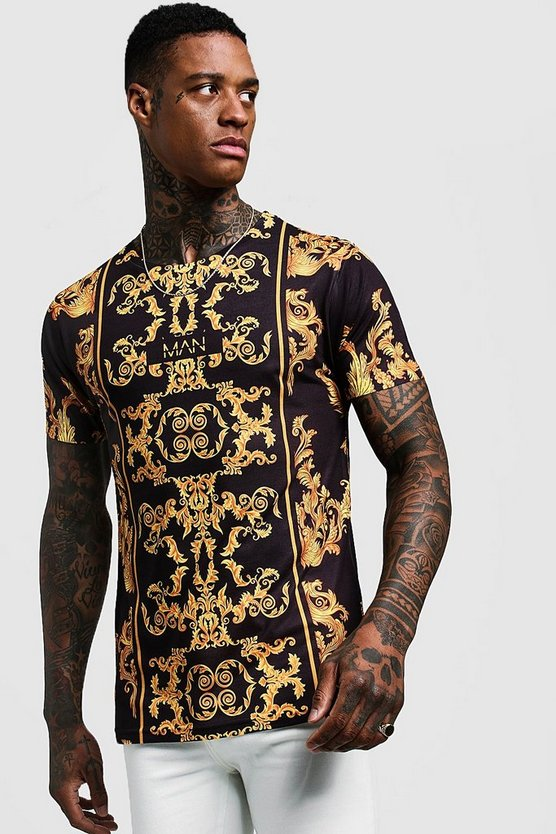 Mens Black Original MAN Baroque T-Shirt