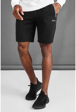 Mens Black Man Mid Length Shorts With Piping Details
