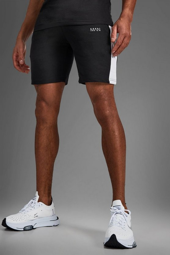 Mens Black MAN Mid Length Shorts With Side Panels
