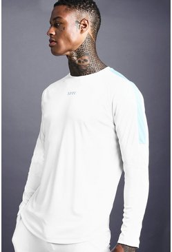 Mens White MAN Poly Long Sleeve T-Shirt With Panel Detail