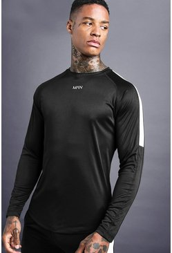 Mens Black MAN Poly Long Sleeve T-Shirt With Panel Details