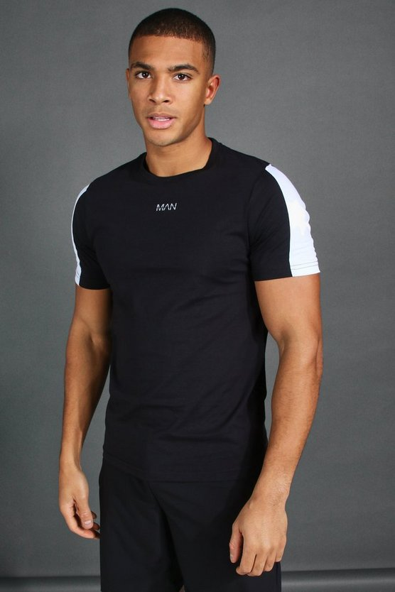 Black MAN Short Sleeve T-Shirt With Sleeve Panel
