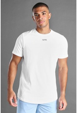 Mens White MAN Curved Hem Short Sleeve T-Shirt