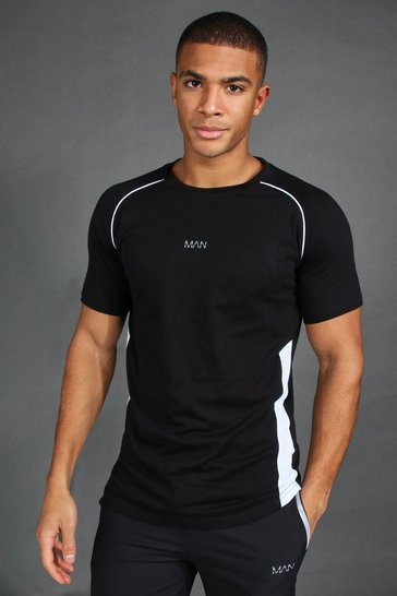 Black Muscle Fit Raglan T-Shirt With Piping