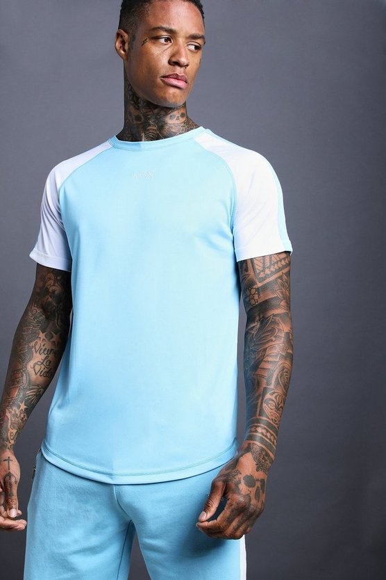 Mens Blue MAN Poly Raglan Curved Hem Tee With Side Panels