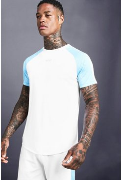 Mens White MAN Poly Raglan Curved Hem Tee With Side Panels