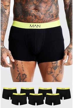 Mens Neon-yellow 7 Pack Neon MAN Waistband Boxers