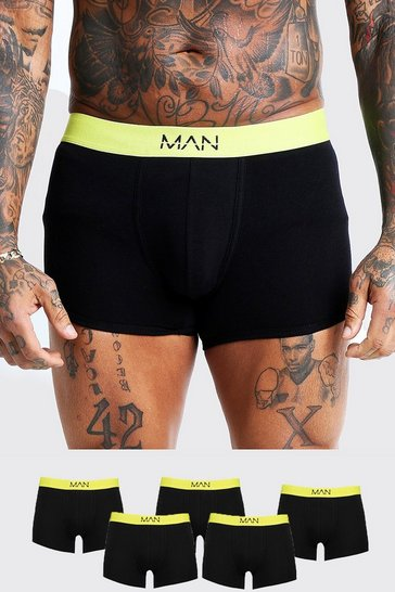 Mens Neon-yellow 5 Pack Neon MAN Waistband Boxers