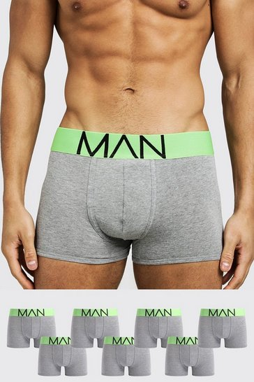 Mens Neon-green 7 Pack Neon Waistband Boxers