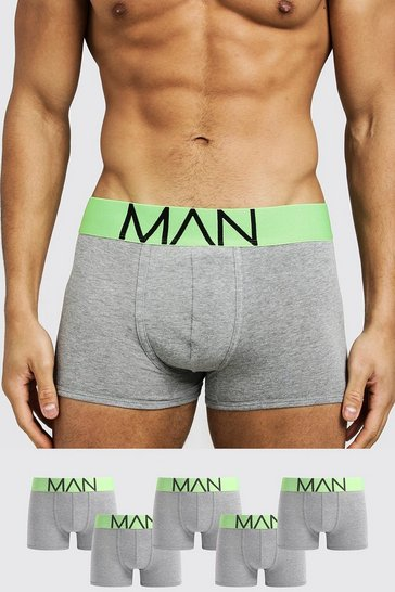Mens Neon-green 5 Pack Neon Waistband Boxers