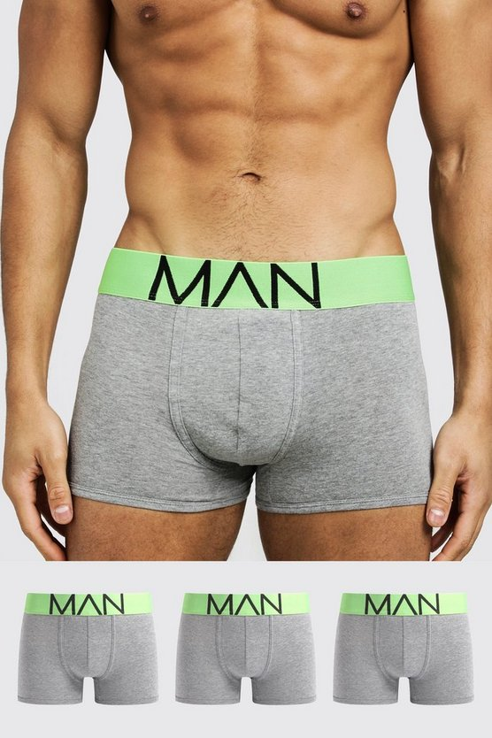 Mens Neon-green 3 Pack Neon Waistband Boxers