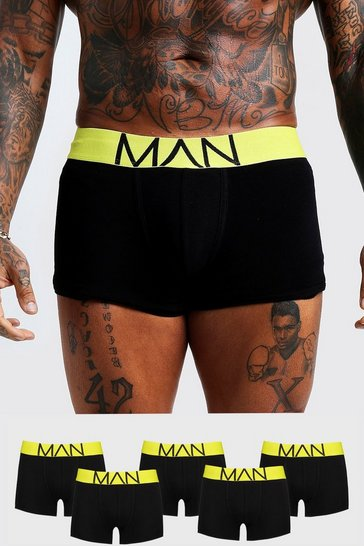 Mens Neon-yellow 5 Pack Neon Waistband Boxers