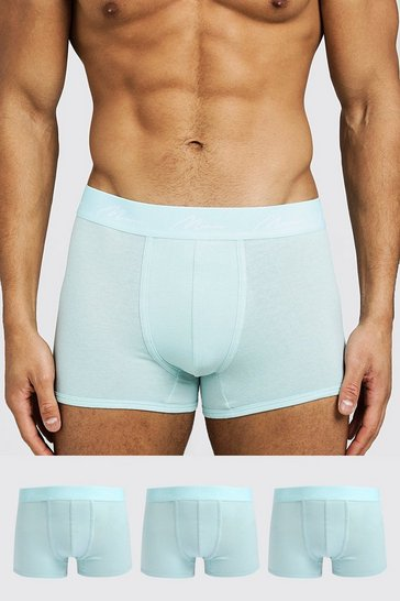 Light blue 3 Pack MAN Signature Trunks