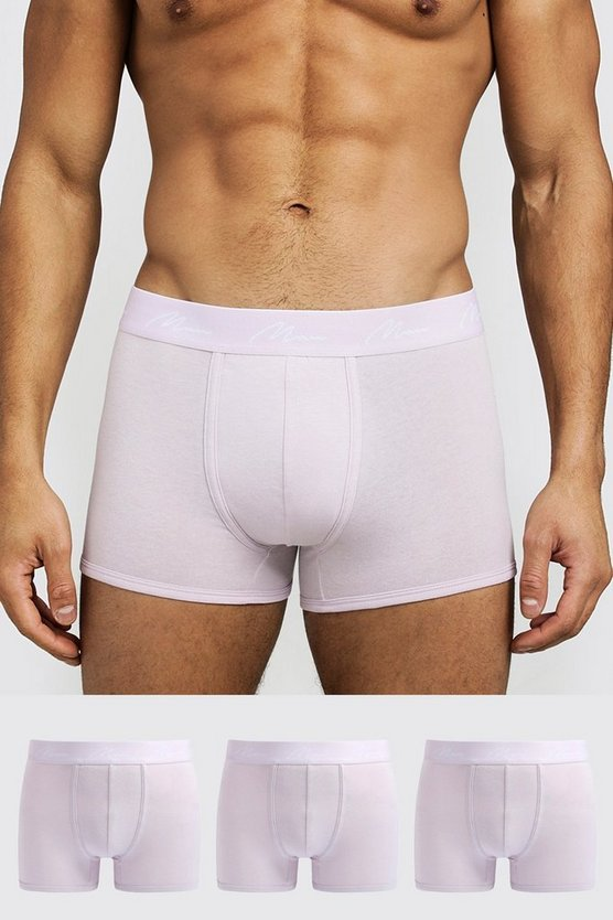 Mens Lilac 3 Pack MAN Signature Trunks