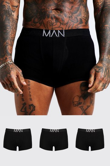 3 Pack Silver MAN Waistband Trunks