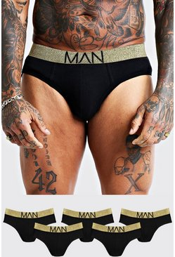 Mens 5 Pack Gold Briefs