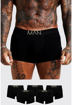Mens 5 Pack Gold MAN Waistband Trunks