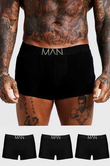 3 Pack Gold MAN Waistband Trunks