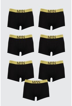 Mens 7 Pack Gold Waistband Trunks