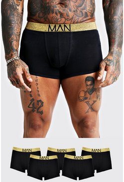 Mens 5 Pack Gold Waistband Trunks