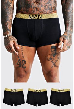 3 Pack Gold Waistband Trunks