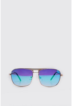 Blue Vintage Low Aviator Sunglasses