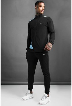Mens Multi MAN Skinny Fit Zip Through Funnel Neck Tracksuit