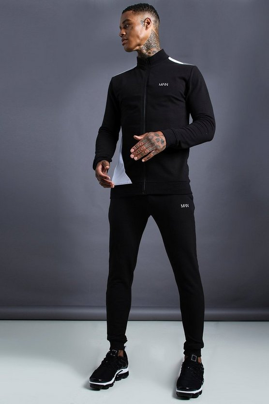 Mens Black MAN Skinny Fit Zip Through Funnel Neck Tracksuit