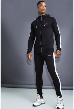 Mens Black MAN Muscle Fit Hooded Detail Tracksuit