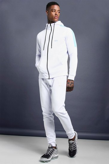 Mens White MAN Muscle Fit Poly Tracksuit