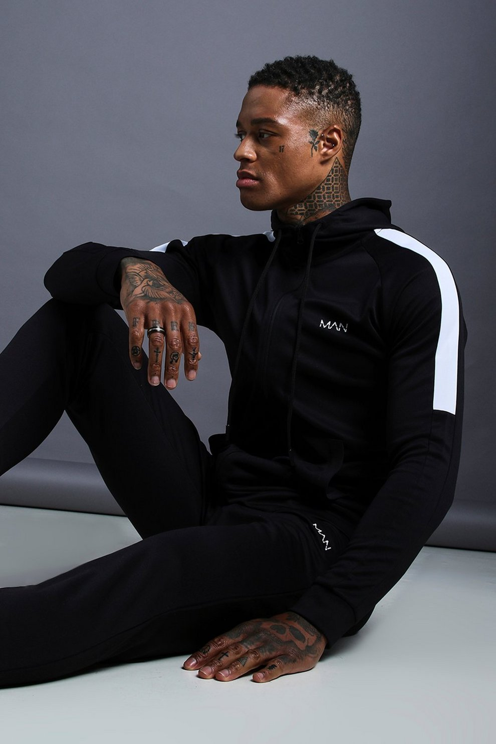 89be04e977 Mens Black MAN Muscle Fit Poly Tracksuit