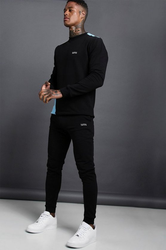 Mens Multi MAN Muscle Fit Jersey Tracksuit With Panel