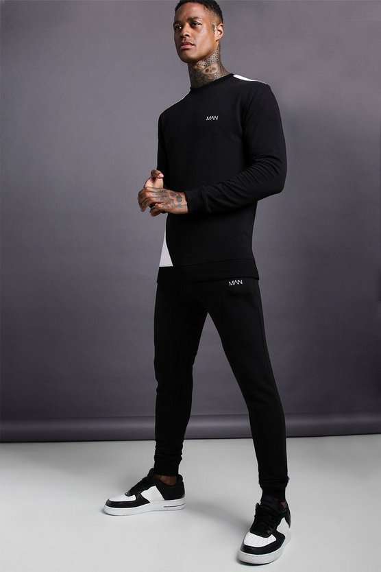 Mens Black MAN Muscle Fit Jersey Tracksuit With Panel