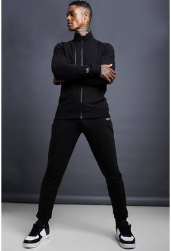 Mens Black MAN Skinny Fit Funnel Neck Zip Detail Tracksuit