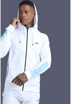 Mens White MAN Zip Through With Panel Detail
