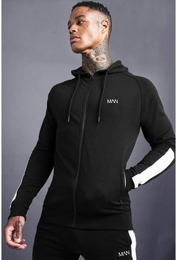 Mens Black MAN Zip Through With Panel Detail