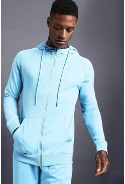 Mens Blue MAN Skinny Jersey Zip Through Hoodie With Panels