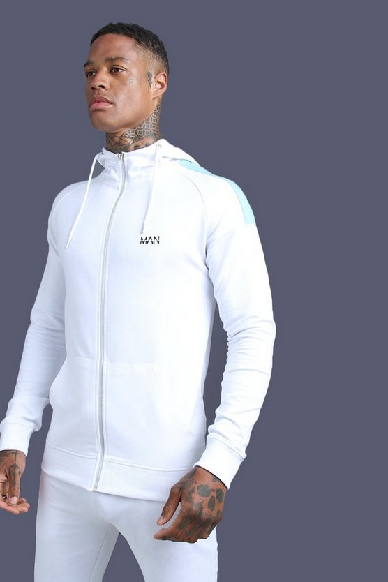 Mens White MAN Skinny Jersey Zip Through Hoodie With Panels