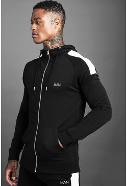 Herr Black MAN Skinny Jersey Zip Through Hoodie With Panels
