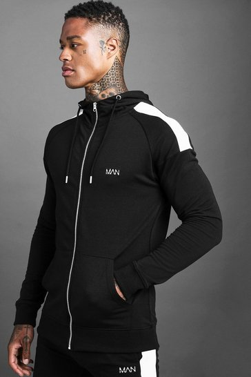 Black MAN Skinny Jersey Zip Through Hoodie With Panels