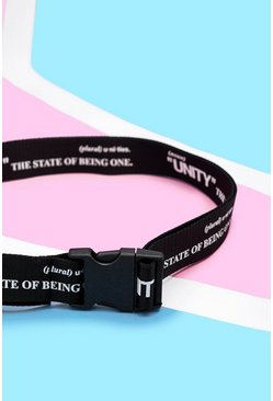 Mens Black Pride Elongated Belt With Unity Print