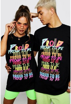 "Pride Loose-Fit T-Shirt mit ""Proud To Be""-Print, Schwarz, Herren"